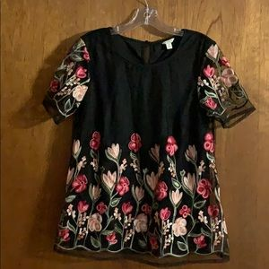 Cato embroidered flower top